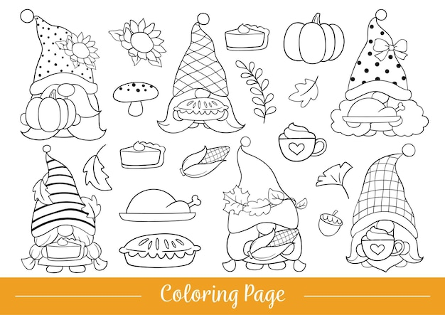 Draw coloring page thanksgiving gnome doodle cartoon style