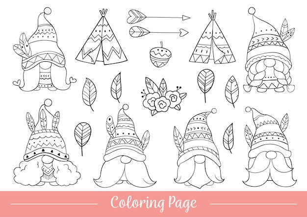 Draw coloring page tribal gnome doodle cartoon style
