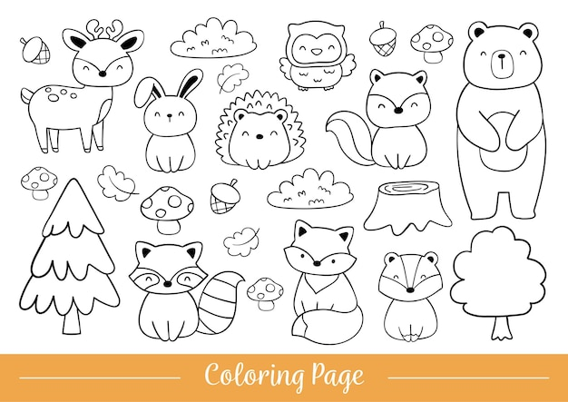 Draw coloring page woodland animals doodle cartoon style