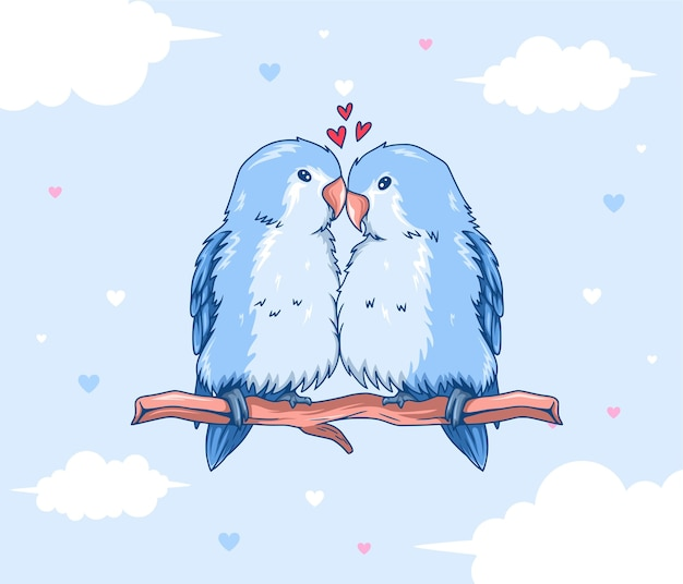 Draw couple love of bird with little heart for valentine's day