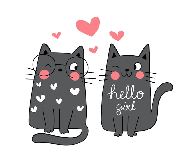 Draw couple love of black cat in live for valentine day.