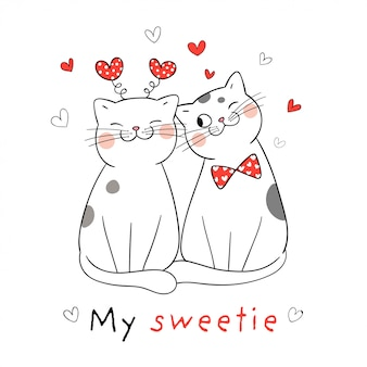 Draw couple love of cat with little red heart for valentine.