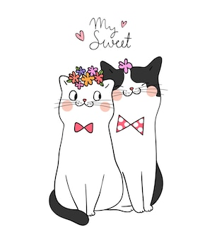 Draw couple love of cat with word my sweet doodle style