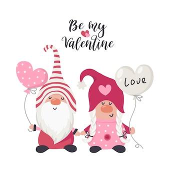 バレンタインの赤いハートでカップルの愛のノームを描きます。グリーティングカード、クリスマスの招待状、tシャツのイラスト