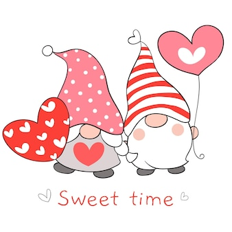 Draw couple love gnomes with red heart for valentine