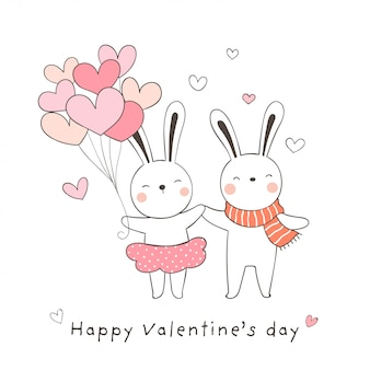 Draw couple love of rabbit with balloon for valentine.