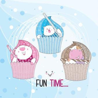 Draw cute animal in cupcake