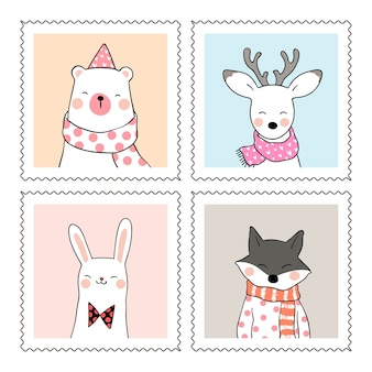 Draw cute animal deer bear wolf and rabbit in sweet frame