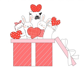 Нарисуйте милое животное в подарочной коробке для влюбленных.