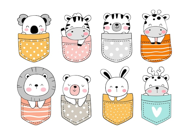 Draw cute animal in pocket doodle cartoon style