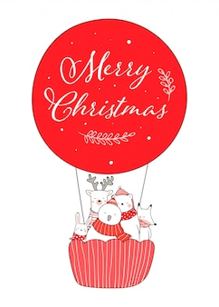 Draw cute animal in red balloon for christmas