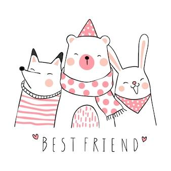 가장 친한 친구와 함께 귀여운 동물 그리기