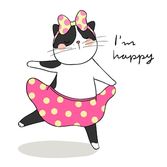 Draw cute black cat dancing and word i'm happy
