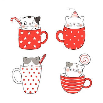 Draw cute cat in cup of coffee and tea for christmas.