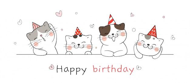 Нарисуйте милый кот на день рождения.