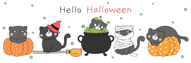 Draw cute cat in halloween day doodle cartoon style