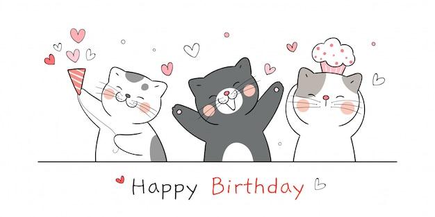 Draw cute cat for happy birthday.