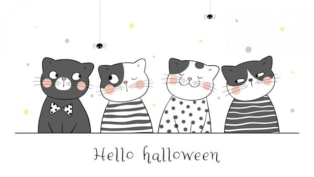 Нарисуйте милый кот в черном цвете. на хэллоуин.