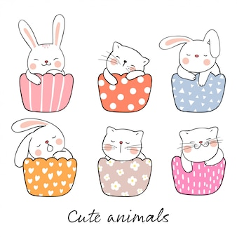 Draw cute cat and rabbit sleeping in cup cake