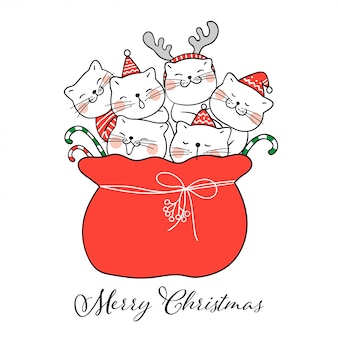 Draw cute cat in red bag santa claus for christmas