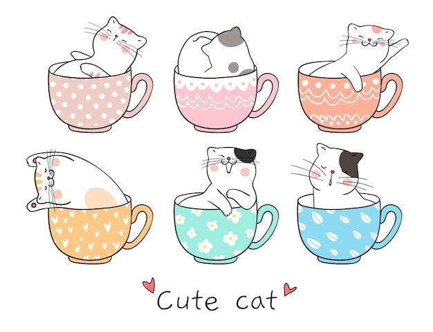Draw cute cat sleeping in cup of tea