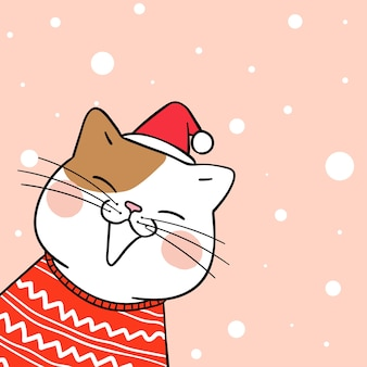 Draw cute cat in sweet snow for christmas day