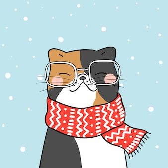 Draw cute cat with beauty scarf in snow for winter season