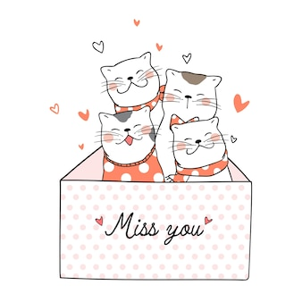 Draw cute cat with little heart and word miss you