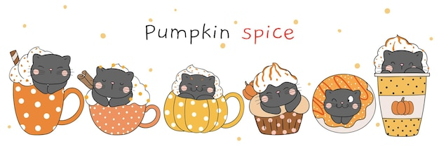 Draw cute cat with pumpkin spice doodle cartoon style