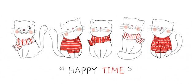 Нарисуйте милый кот с красным шарфом и свитер на рождество.