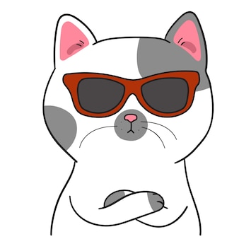 Draw cute cat with sunglasses