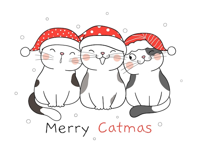 Draw cute cats for christmas and new year