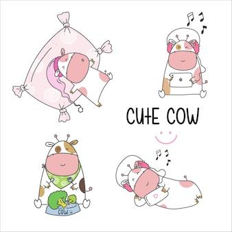 Draw cute cow cartoon
