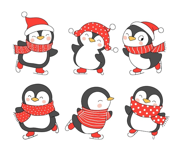 크리스마스에 귀엽고 재미있는 펭귄을 그립니다.