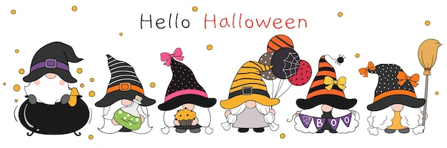 Draw cute gnome  in halloween day doodle cartoon style