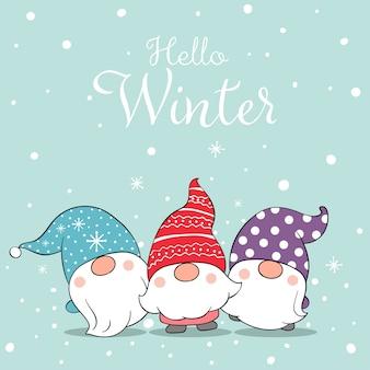 Рисуем милых гномов на снегу на зиму