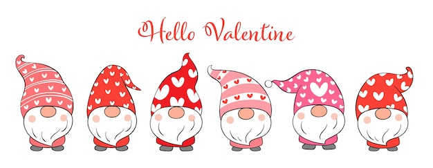Draw cute gnomes valentines day