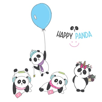Draw cute panda cartoon