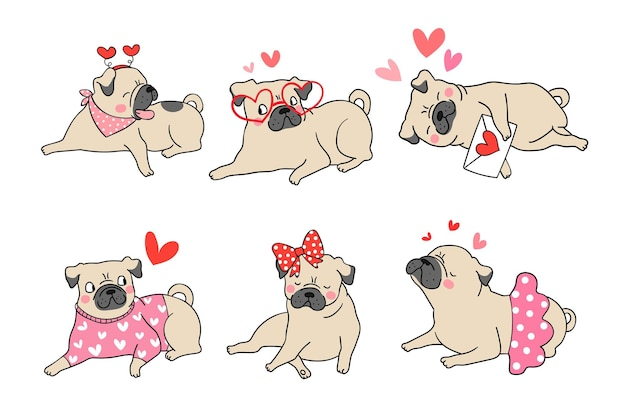 Draw cute pug dog puppy for valentine day.