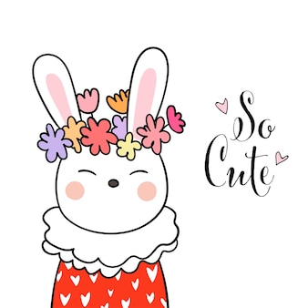 Draw cute rabbit and beauty flower on head with word so cute