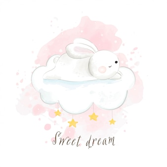 Draw cute rabbit sleeping on so happy and sweet dream.