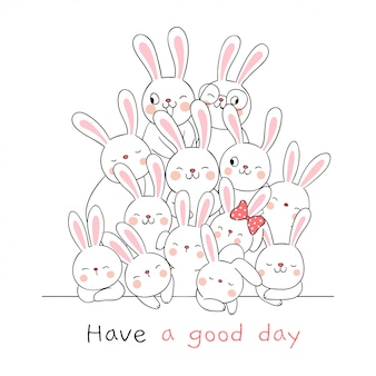 Draw cute rabbit with word have a nice day on white.