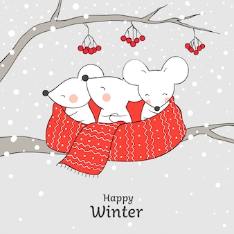 Draw cute rat in red scarf for christmas and new year.