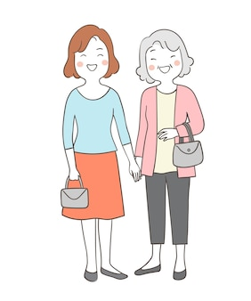 Draw elderly senior grandmother and mom holding hands