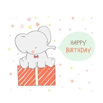 Draw elephant sitting on gift for birthday.