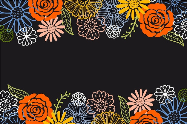 Draw of flowers on blackboard wallpaper