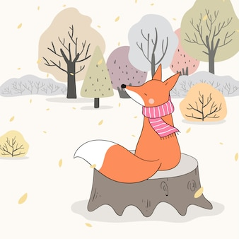 Draw fox sitting on wood in forest fall autumn.