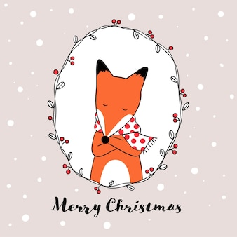 Draw fox in wreath for christmas day