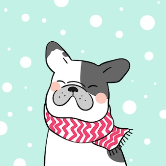 Draw french bulldog in snow for winter season