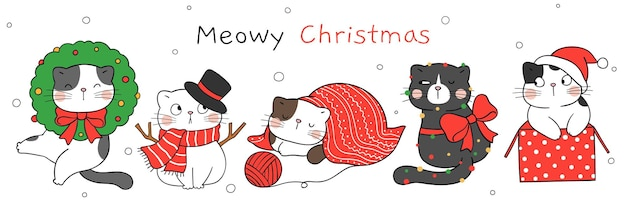 Draw funny cat for christmas and new year